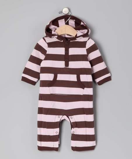 Brown &amp; Light Pink Stripe Playsuit - Infant