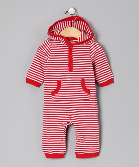 White & Red Stripe Playsuit - Infant
