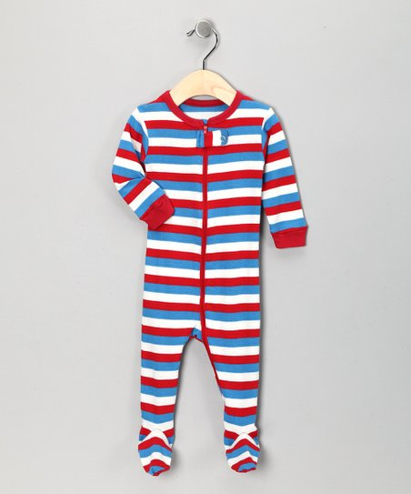 Red & Blue Stripe Footie - Infant, Toddler & Kids