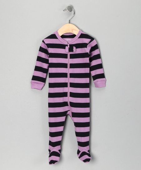 Purple &amp; Navy Stripe Footie - Toddler &amp; Kids