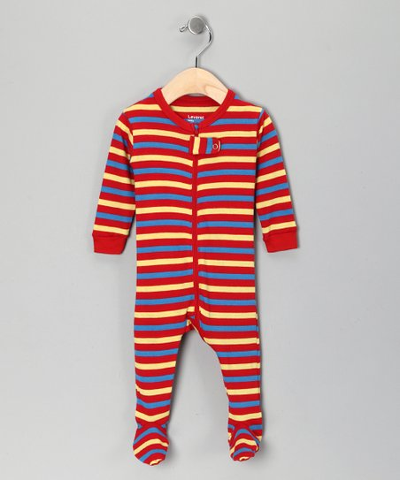 Red & Yellow Stripe Footie - Toddler & Kids
