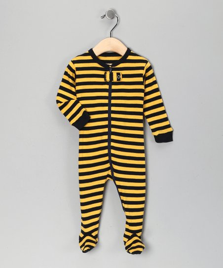 Navy & Yellow Stripe Footie - Infant, Toddler & Kids