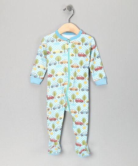 Light Blue Gingham Car Footie - Kids