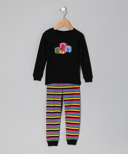 Black Gift Pajama Set - Infant, Toddler & Kids