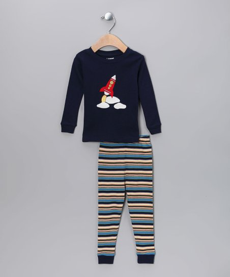 Navy Space Rocket Pajama Set - Infant, Toddler & Kids