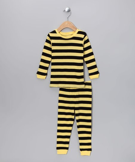 Black & Yellow Stripe Pajama Set - Infant