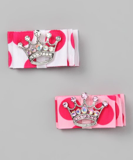 Pink & White Rhinestone Crown Clip Set
