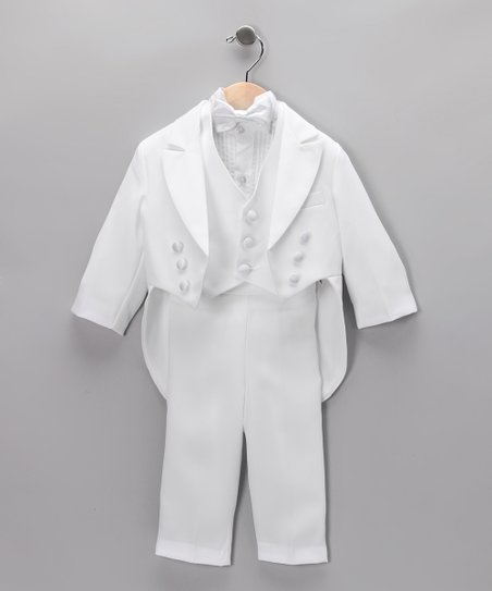 White Four-Piece Vest Tuxedo Set - Infant