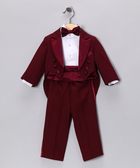 Burgundy Five-Piece Set - Infant, Toddler & Boys