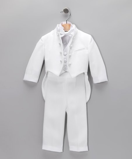 White Mandarin Four-Piece Tuxedo Set - Infant, Toddler &amp; Boys