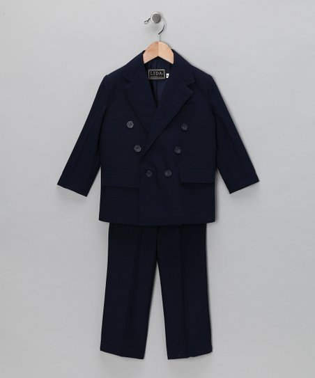 Navy Two-Piece Double-Breasted Suit Set - Boys & Husky