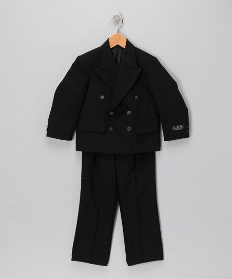 Black Notched Collar Two-Piece Suit Set - Boys