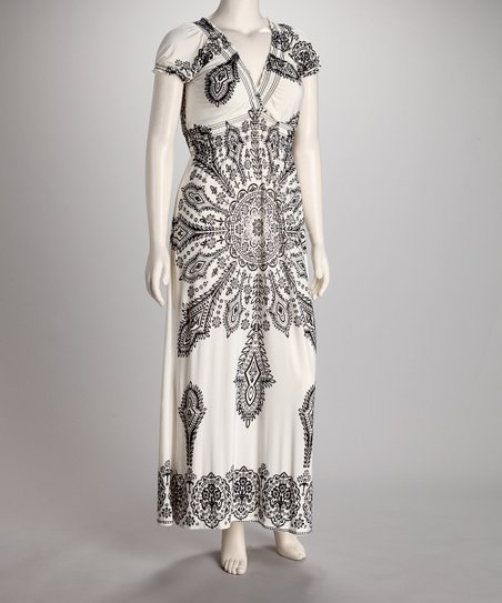 Ivory & Black Aztec V-Neck Puff-Sleeve Maxi Dress - Women