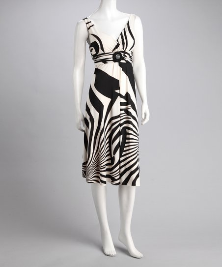 Black &amp; White Abstract Stripe Dress