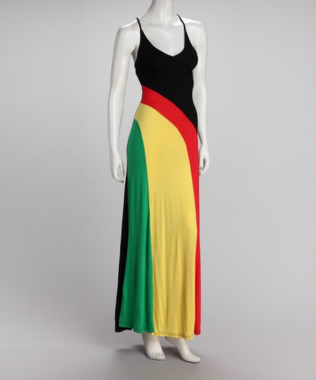 Red &amp; Yellow Stripe Maxi Dress - Women