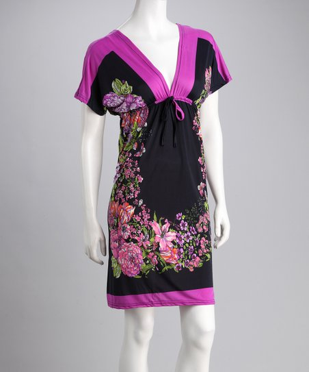 Purple Floral V-Neck Dress - Women