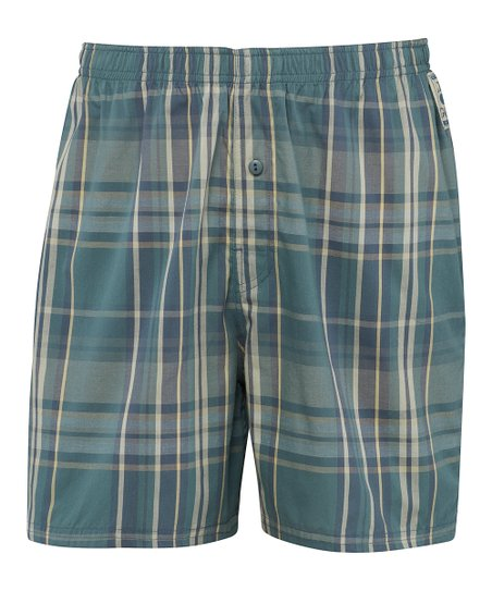 Spruce Green Plaid Boxers - Men