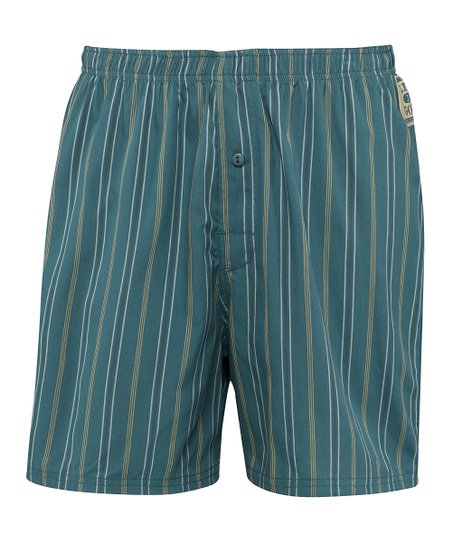 Spruce Green Stripe Boxers - Men