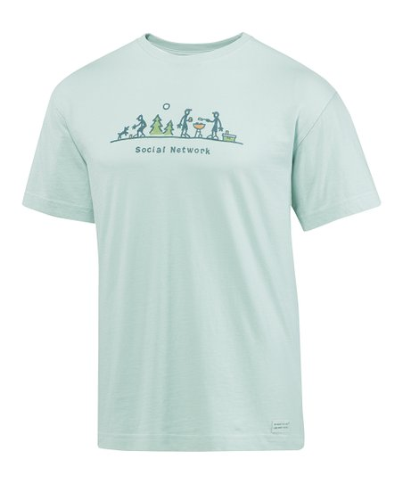 Foggy Blue &#039;Social Network&#039; Crusher Short-Sleeve Tee - Men