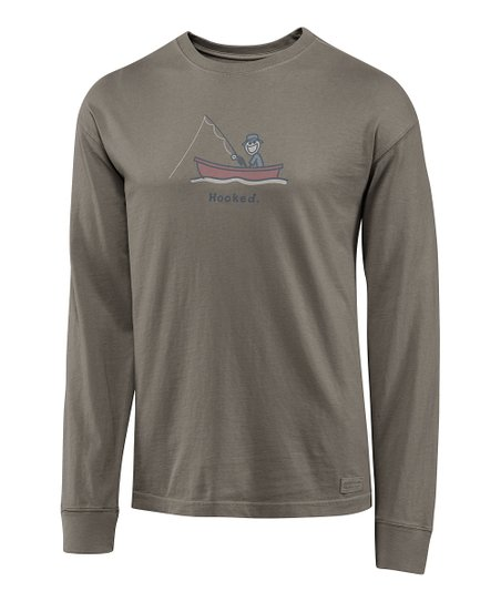 Warm Gray 'Hooked' Crusher Long-Sleeve Tee - Men