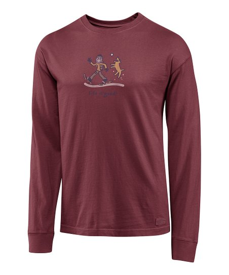 Burgundy Snowshoe Crusher Long-Sleeve Tee - Men