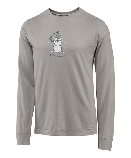 Warm Gray Snowman Golf Crusher Long-Sleeve Tee - Men
