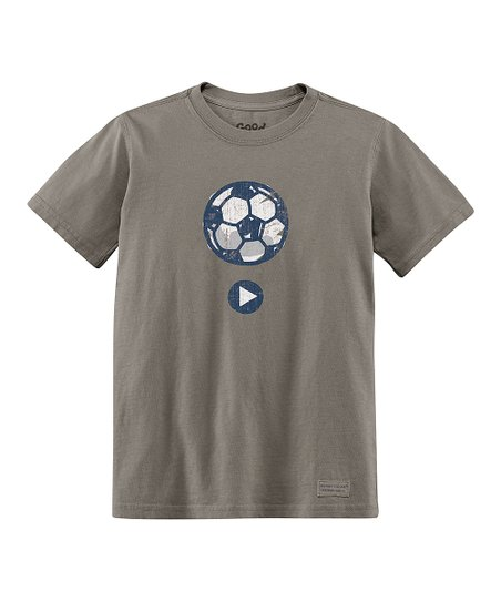 Light Brown Play Soccer Short-Sleeve Crusher Tee - Boys