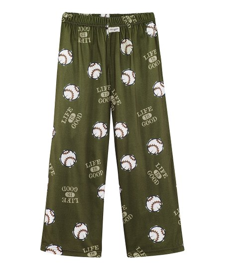 Dark Green Baseball Pajama Pants - Boys