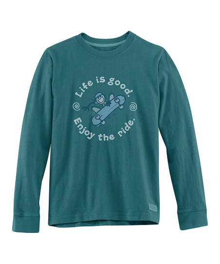 Spruce Green 'Enjoy the Ride' Long-Sleeve Crusher Tee - Boys