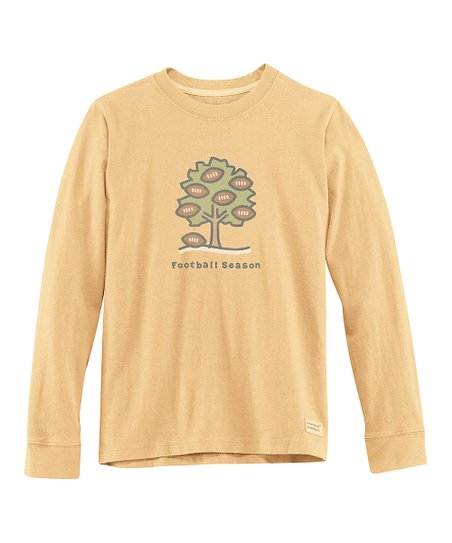 Classic Gold &#039;Football Season&#039; Long-Sleeve Crusher Tee - Boys