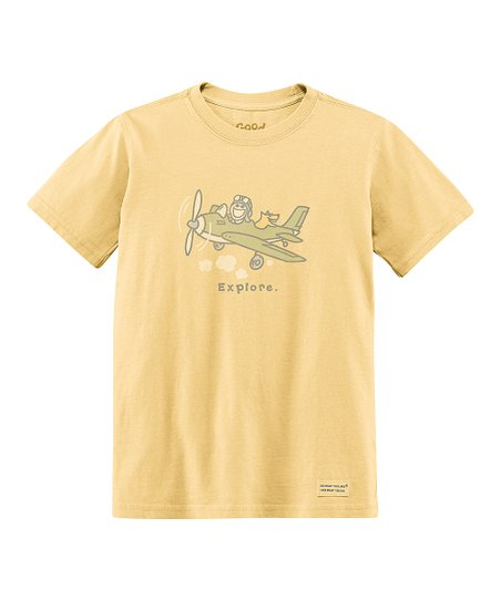 Yellow 'Explore' Short-Sleeve Crusher Tee - Toddler