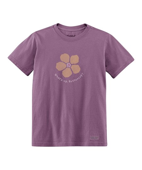 Plum 'What's Up Buttercup' Short-Sleeve Crusher Tee - Toddler