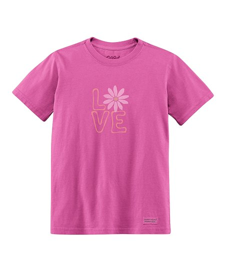 Magenta Daisy 'Love' Short-Sleeve Crusher Tee - Toddler