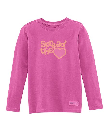 Magenta 'Spread the Love' Long-Sleeve Crusher Tee - Toddler