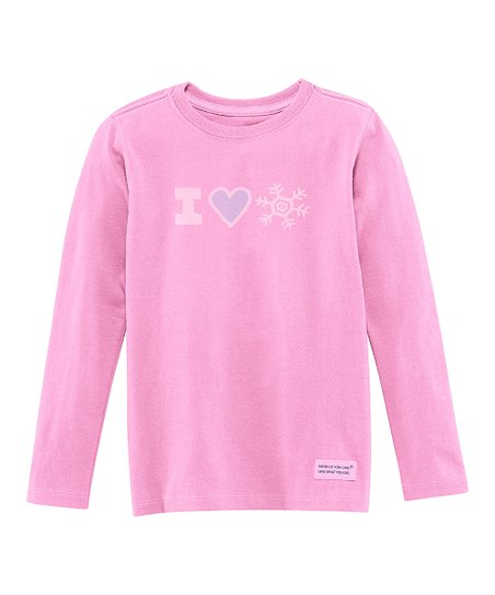 Peony Pink 'I Heart Snow' Long-Sleeve Crusher Tee - Toddler
