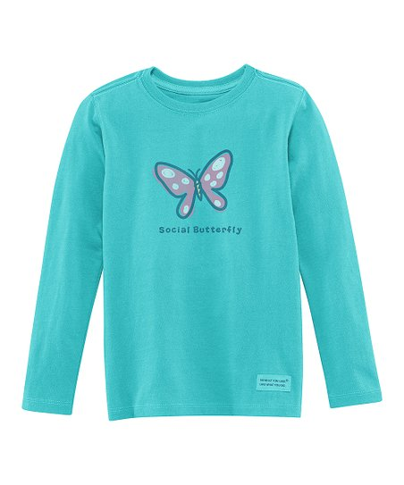 Teal 'Social Butterfly' Long-Sleeve Crusher Tee - Toddler