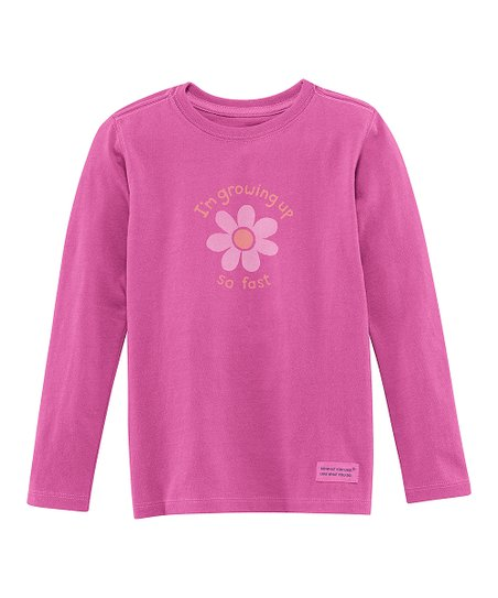 Magenta 'Growing Up' Long-Sleeve Crusher Tee - Toddler