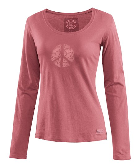 Brick Red Quote Peace Crusher Long-Sleeve Tee - Women