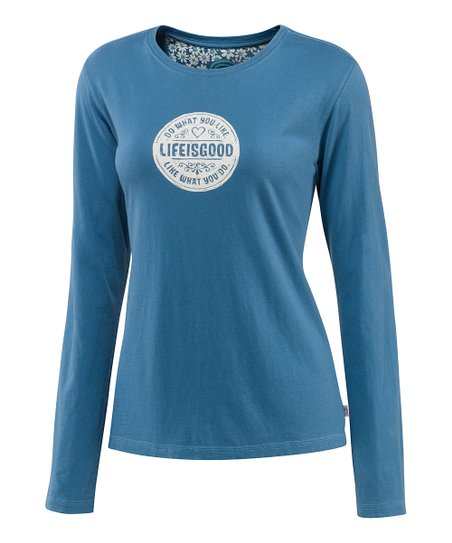 Simply Blue Heart Creamy Long-Sleeve Tee - Women