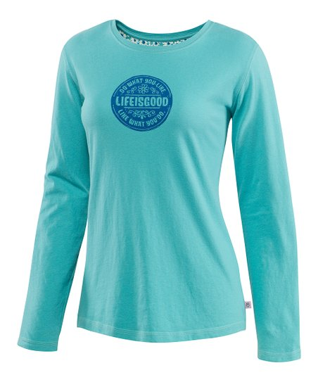 Teal Daisy Creamy Long-Sleeve Tee - Women
