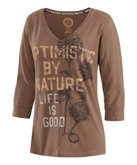Mocha Hydrangea Creamy Three-Quarter Sleeve Tee - Women