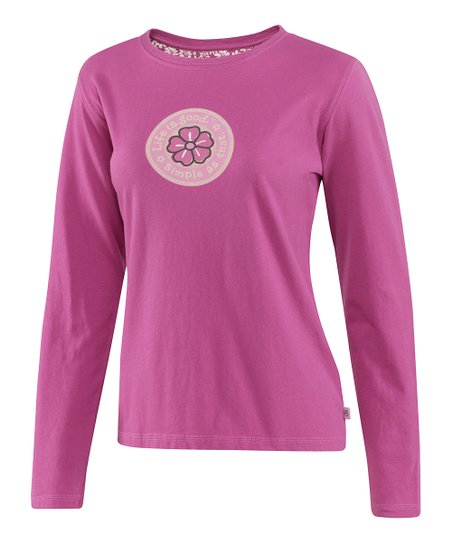Magenta Heritage Hibiscus Creamy Long-Sleeve Tee - Women