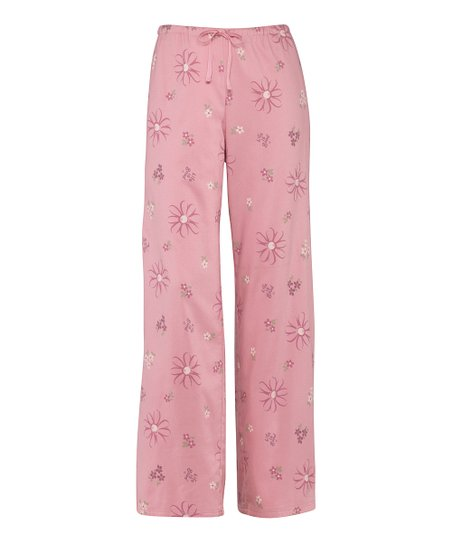 Pink Tossed Daisies Pajama Pants - Women
