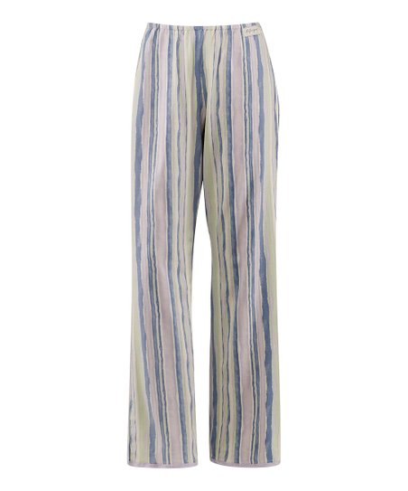 Pale Lavender Stripe Lace-Trim Pajama Pants - Women