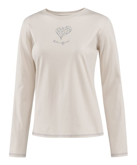 Pale Crème Delightful Heart Long-Sleeve Sleep Tee - Women