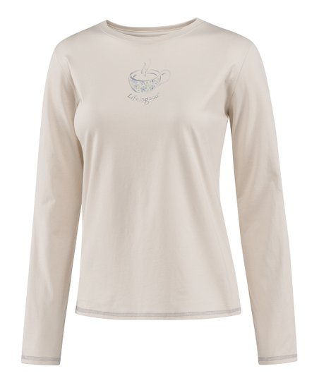 Pale Crème Delightful Cup Long-Sleeve Sleep Tee - Women