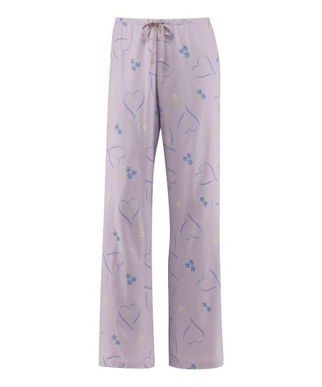 Pale Lavender Tossed Hearts Pajama Pants - Women