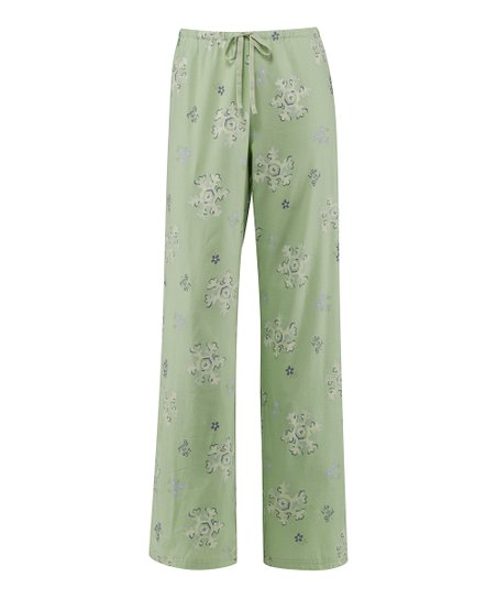 Pale Green Tossed Snowflakes Pajama Pants - Women
