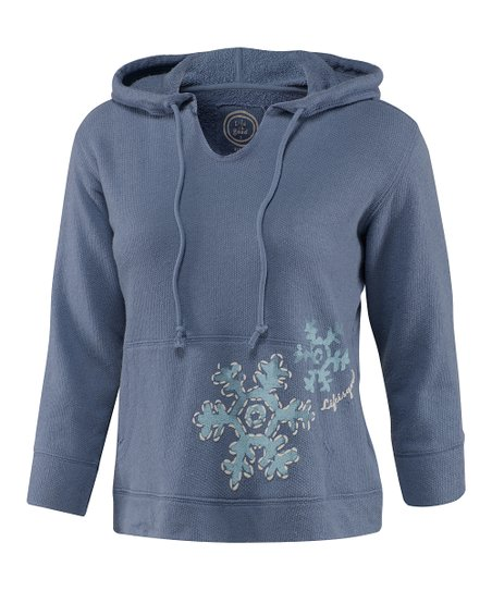 Dark Blue Snowflake Sleep Hoodie - Women