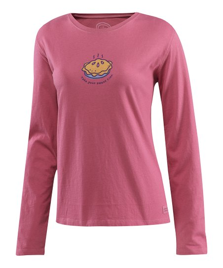 Dusty Pink Sweet Time Pie Creamy Long-Sleeve Tee - Women